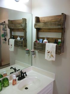 A friend gave me a half pallet and I attached it to the wall in my bathroom to hold those items I didn't want sitting around the sink.