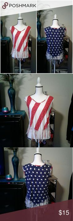 """American Flag fringe top Women's like new Freshman American Flag fringe bottom tank top size X Small. Measurements Chest 17"""" length 22"""". So cute!! Thanks for looking Bundle to save!! Freshman Tops Tank Tops"""