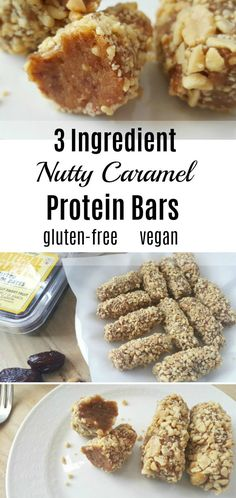 Recipes Snacks Protein As sweetly delicious as the famous candy bar, these Medjool Date Nutty Caramel Protein Bars have only three ingredients, and they are gluten-free, dairy-free, and vegan. Gluten Free Protein Bars, Vegan Protein Bars, Healthy Protein Snacks, Gluten Free Snacks, Vegan Snacks, Vegan Desserts, Vegan Gluten Free, Dairy Free, High Protein
