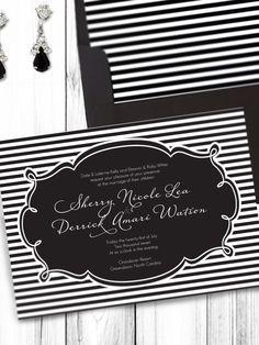 But navy and ivory. Black and White Striped Wedding PRINTABLE Invitation DIY. $29.95, via Etsy.