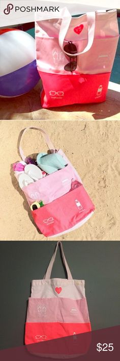 """SALELimited Edition Beach Tote Victoria's Secret Limited Edition Beach tote. From has three shades of pink and is divided into 4 outer pockets; labeled """"flip flops"""" """"sunnies"""" """"sun hat"""" and """"water"""". Been used twice. Front has small staining at top. Barely noticeable. Otherwise great condition. Bottom is lined. Canvas material.  No ️ay️al No Ⓜ️ercari  ask me about bundles  Price firm unless bundled  Victoria's Secret Bags Totes"""