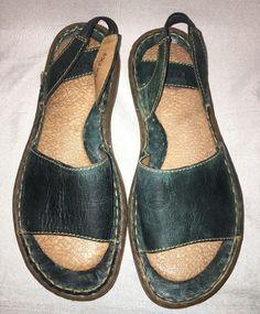 Born Sandals Green Women's Size 6 US 36.5 EUR Slides Elastic Slingback Heel…