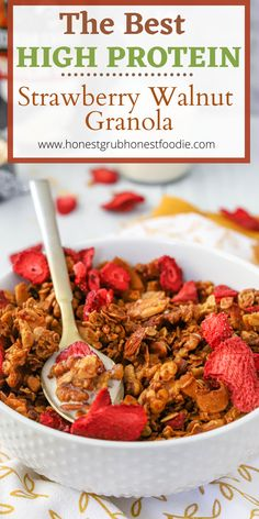 Time for an easy high protein breakfast. A healthy breakfast that your whole family will love. Enjoy this high protein granola as a breakfast or snack or sweet treat! Make this with gluten free oats or regular oats too.