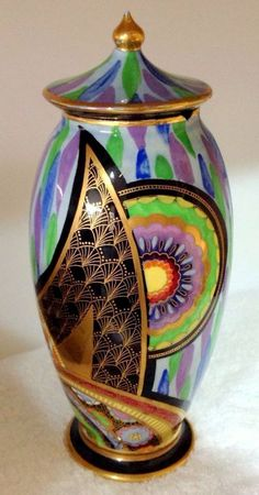 Vintage Art Deco Carlton Ware Porcelain Enamels Rare Scimitar Temple Jar and Lid #Vase