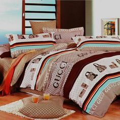 CUCCI Stripe Brown Reactive Print Cotton 4-Piece Full Size Bedding Sets