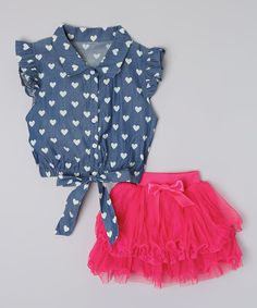 Look what I found on #zulily! Mommy's Little Peanut Blue Heart Top & Pink Tutu Skirt - Toddler & Girls by Mommy's Little Peanut #zulilyfinds