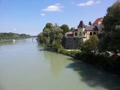 The river Inn at the border Simbach-Braunau, Upper Austria