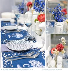 like the use of blue and white (not solid blue/solid white or too crazy with patterns either) but bit too 'fun' over 'classy' for our wedding i think    Ooh la la Ombre {Rooftop Tablescape}