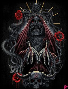 Skull and Crossbones Tattoo Designs Dark Artwork, Skull Artwork, Dark Art Drawings, Tatto Skull, Tatoo Art, Flame Tattoos, Evil Tattoos, Reaper Tattoo, Satanic Art