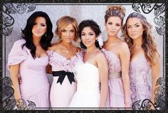 Hottest bridal party ever? Point being: same color, same fabric, vastly different dresses and hair. And GO!