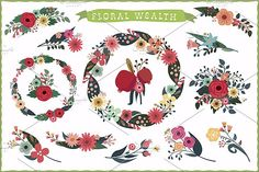 Floral wealth Graphics Beautiful bouquets for your holiday designs, greeting cards, invitations, web graphics, scrap booki by Darish