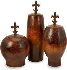 Mafalda Vases with Fleur-de-Lis Iron Lids - Set of 3