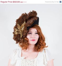 SALE / SALE / vintage 1980s hat / feather by PoppycockVintage, $78.20