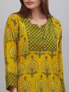 Stylish and fashionable kurti neck design - Simple Craft Ideas Churidar Neck Designs, Kurta Neck Design, Kurta Designs Women, Salwar Designs, Printed Kurti Designs, Printed Sarees, Neck Designs For Suits, Dress Neck Designs, Blouse Designs