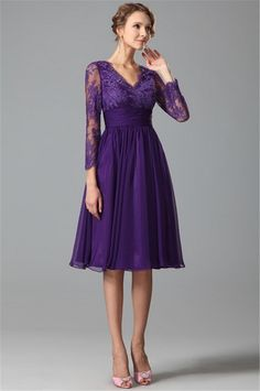 Purple Bridesmaid Dresses : Long Sleeves Purple Bridesmaids Dresses A Line V Neck Vintage