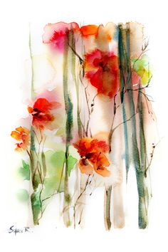 Abstract Flowers Watercolor Painting Art Print von CanotStopPrints