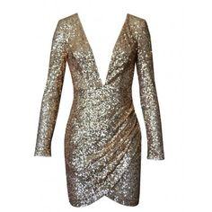 Gold Sequin Plunge Neckline Wrap Skirt Bodycon Dress