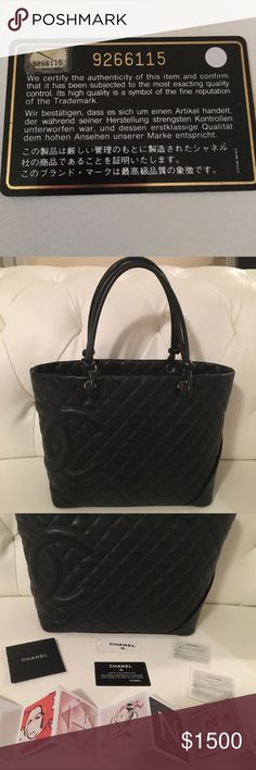 💯 Authentic Chanel Cambon Tote 🌺 🌺 Beautiful & classic Chanel Cambon Tote. Soft calfskin leather. Black on black with pink interior.  🌺 Bag is in excellent condition & has retained its shape. Interior is slightly dirty but can be professionally cleaned. Exterior shows very minor wear. Light scratch on bottom front right side (see pic).  🌺 Comes with authentication card, booklet & original tag. The interior authentication sticker fell off but it is on the card (see pic).  🌺 No trades…