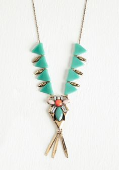 Geo Glamour Necklace. Your ensemble sure is shaping up stylishly thanks to this intricate necklace! #green #modcloth