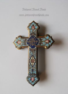 ANTIQUE FRENCH BEAUTIFUL CLOISONNE ENAMEL CROSS