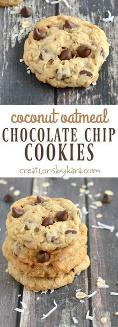 Oatmeal Chocolate Chip Cookies with toasted coconut and coconut oil. Crispy on the edges, chewy in the middle. The perfect oatmeal cookie!