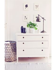small stripped rug with bureau Living Area, Living Room, White Drawers, Retail Displays, Scandinavian Home, Dresser As Nightstand, Hallways, My Room, Decoration