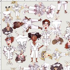 Tossed Nurses Gray Fabric Yard