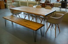 Industrial Scaffold Board Dining Table, Bench and Five Eames Chairs - Delivery Available | Edinburgh | Gumtree