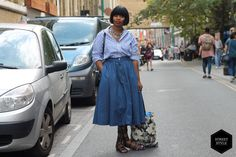 How can you not admire Tanqiue's outfit? From her blue striped oversized Zara Men's shirt, the chunky necklace and gladiator sandals from Zara, to the H&M denim skirt, it doesn't get much better than this. #blackballad #streetstyle #fashion