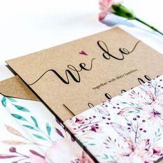 Bespoke Wedding Invitation Sets - non foiled Bespoke Wedding Invitations, Floral Wedding Invitations, Wedding Stationery, Belly Bands, Stationery Design, Design Show, Envelope Liners, Rustic Wedding, Dates