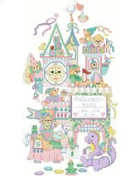 A fantasy inspired medieval castle announces the birth of a brand new adorable baby. Robin Hood woos Maid Marion above the castle gate, while the Knight in Shining Armor presents his colors to the Bear King. Such a sweet way to declare the birth of a new royal subject.