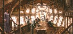 I believe this is the inside view of a steampunk airship. Please let me know if you know differently or know of the artist. Thanks.
