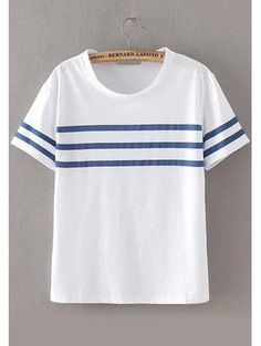 Round Neck Striped Loose T-shirt                                                                                                                                                                                 Más