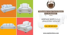 """Affordable is Not Just A Name, It's A Promise""  Product name: HERITAGE WHITE 3+1+1 UPHLOSTERY SOFA SET  Product CODE - OMF-SSET-1003-A Product URL :  heritage White 3+1+1 uphlostery sofa set is very beautiful and heavy sofa set.   