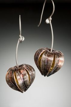 Nisa Jewelry:  Physalis (Chinese Lantern Plant) Earrings; crafted in fine silver (PMC) and custom hand-blown hollow glass interior beads, custom order..... $320