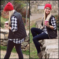 Red beanie and puffer vest