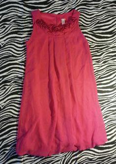 ~ Cherokee Girls Pink Rosette Lined Bubble Dress Size 10 ~EUC