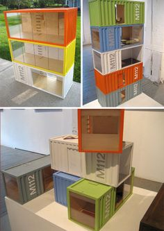 I dream/wanted this when I was 10. I got a basic boring gianormous wood Dollhouse. Wonder if my dad would get it for me now. paris renfroe designs container home dollhouse