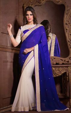 Contemporary Off White and Royal Blue Georgette Saree