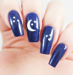 Winter night sky manicure using our Moon and Stars Nail Decals found at snailvinyls.com