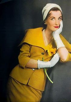 Mustard suit elegance from 1954. I've always wanted to be able to wear this color!