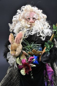 Your place to buy and sell all things handmade Father Christmas, Christmas Art, Family Christmas, Metallic Thread, Green Velvet, Christmas Traditions, Green And Gold, Art Dolls, My Design