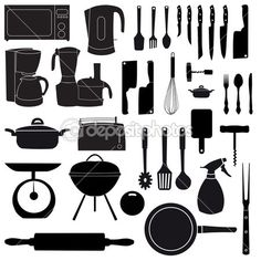 Kitchen Tools Drawings kitchen tool utensil equipment doodle drawing sketch - stock