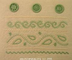 Dorset feather stitch sampler. This stitch was used on farmers smocks and womens dresses
