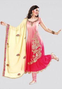 Embellished Ombre Pink Dress Material