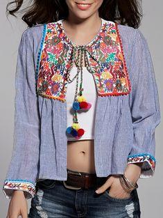 Striped Long Sleeve Retro Embroidery Blouse LIGHT BLUE: Blouses | ZAFUL