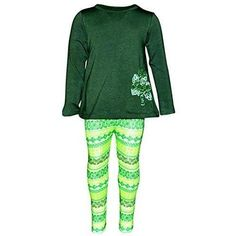 Girls Lucky Clover Embroidery 2 Piece St Patricks Day Outfit Green Celtic  Irish Girl St Patrick s e3900e800305