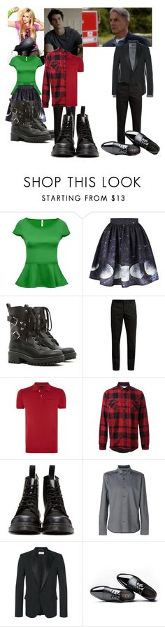 """Faith&Eric hanging with their dad"" by firecutie ❤ liked on Polyvore featuring Bebe, RED Valentino, Yves Saint Laurent, Scotch & Soda, Sacai, Dr. Martens, Jethro and Ermenegildo Zegna"