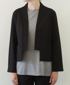 "A short jacket in our signature heavy weight ponte. It features a stand up collar band, no closure and horizontal inseam pockets. A super comfortable double knit that is tightly woven and keeps its shape. A long time favourite! Jacket measures 58cm/23"" in front (approx.) FABRIC CONTENT: 65% rayon, 31% nylon, 4% spandex CARE: hand wash or dry clean MADE IN CANADA Model is 178cm/5'10"" Size chart Kimono Fashion, Fashion Outfits, Coats For Women, Jackets For Women, Rare Clothing, Kimono Dress, Kimono Jacket, Fashion Project, Schneider"