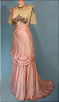 c. 1912  Pink Silk Trained Evening Gown